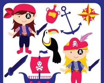Girl Pirates - girls, ahoy mateys, pirates of the caribbean, ship, black, eye patch, sea robbers - Personal and Commercial