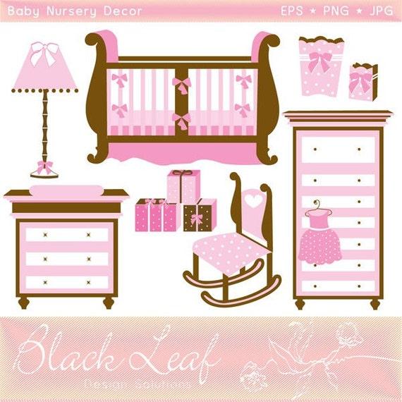 Baby Nursery Decor Digital Clip Art Set Gifts Cot Baby