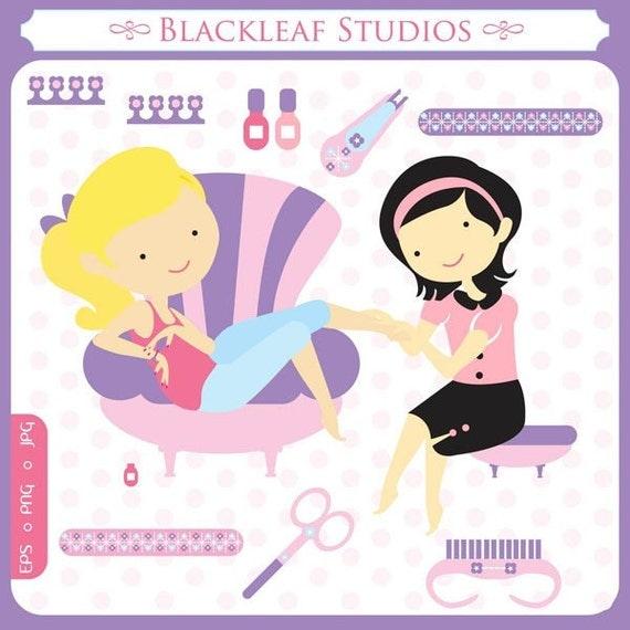 Nail Art Beauty Spa: Baby Nail Spa Digital Clip Art Illustration Parlour Beauty
