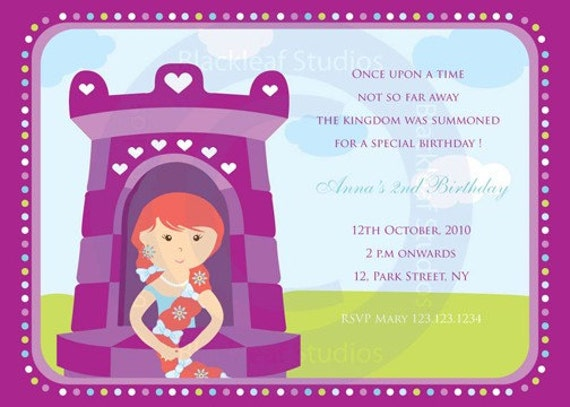 Rapunzel Tangled DIY Printable Party Invitation 5x7 Baby Shower – Baby Birth Party Invitation