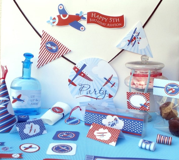 Flying High Airplanes Baby Shower or Birthday Custom Printable Party Kit Package