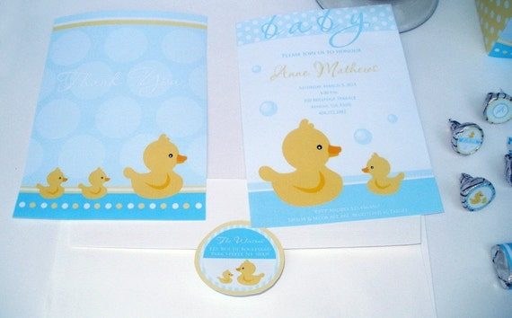 Baby Ducky DIY Baby Shower or Birthday Custom Printable Party Package - rubber ducky printables, ducky baby shower, yellow duck,