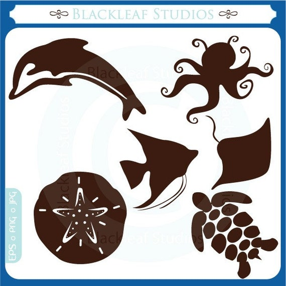 Sea Life Silhouettes Beach Animals - Instant Download - Personal and Commercial Use Clipart Set