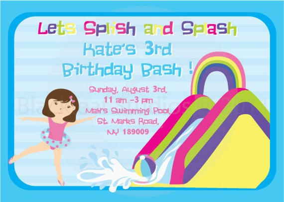 Pool Side Splish Splash Water Slides Birthday Party Invitation – Water Slide Party Invitations