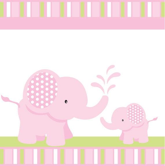 Elefante rosa bebé ducha o cumpleaños por blackleafdesign en Etsy