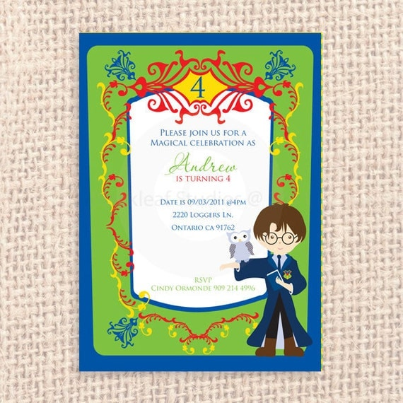 Harry Potter Birthday Cards Free Printable ~ Harry potter cast a spell at hogwarts customised birthday party invitation printable thank you