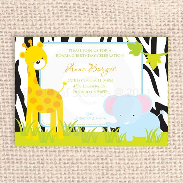 Baby Jungle Safari Fun Diy Printable Party Invitation 5x7