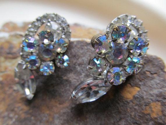 Dimensional Floral Rhinestone Earrings flowers wedding prom pageant bridal mother of bride