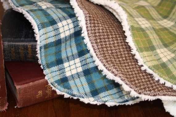 Little Man Set of Three Large Bibs for  Toddler Boy- Green, Brown, and Brown Plaid