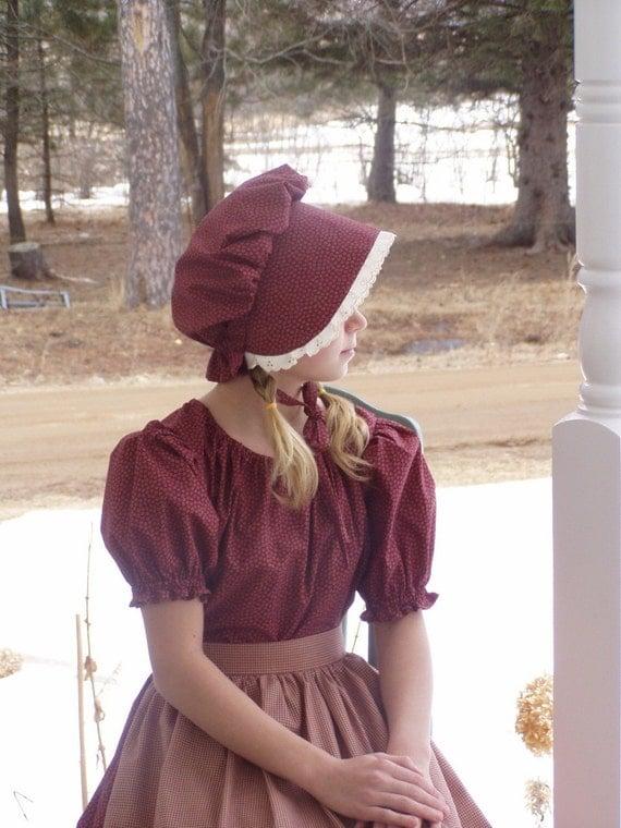 Girls Pioneer Prairie Colonial Dress Costume Burgundy Posting For pam dean