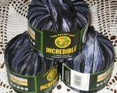Lion Brand Incredible - Col. 204 Accent on Black - Lot of 3 Skeins