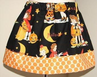 A Vintage HaLLoWeEn Skirt, Alexander Henry, Orange Polka Dot, Sizes 12 18 2 3 4 5 6