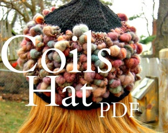 PDF Coils Hat Pattern handspun art yarn knitting Digital Download SELL items knit from this