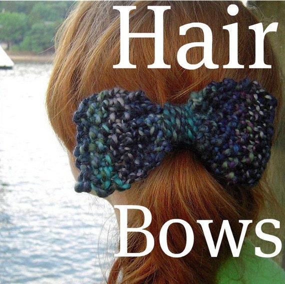 Knitting Items To Sell : Pdf handspun knitted hair bows knitting pattern digital
