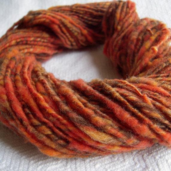 Autumn Orange Gold Corespun Handspun art yarn wool artyarn Fall Garden