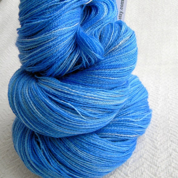 True Blue LACE Cashmere Baby Alpaca silk Luxury Yarn 1312 yards handdyed lace weight