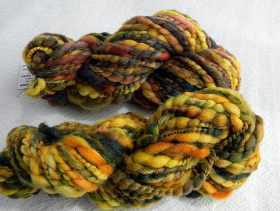 Garden Greens n Golds Handspun Yarn Merino Wool Thick and Thin Art Yarn 85 yards Spiral thread plied