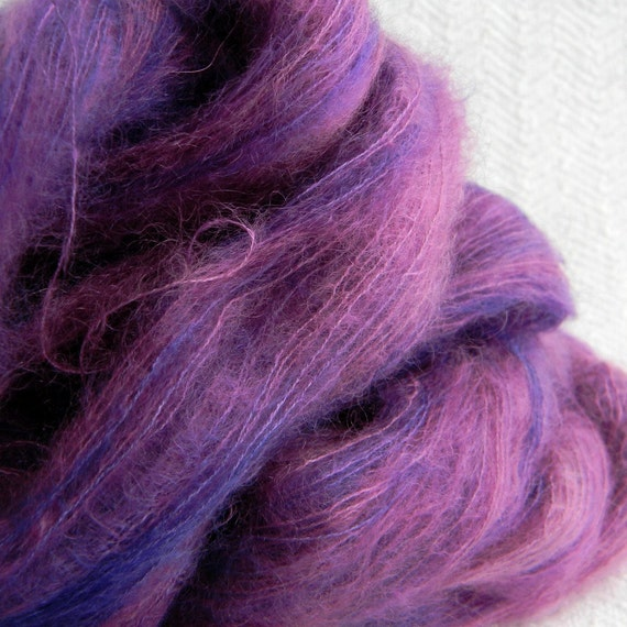 Deep Purple Orchid Hand Dyed Mohair Silk yarn lace 229 yards