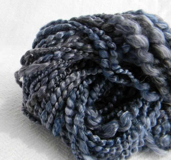 Gun Metal Grey Handspun Yarn Thick and Thin Gray Art Yarn thread plied 63 yards textured artyarn