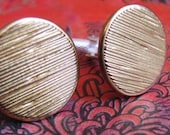 Vintage/Retro Style MaD MeN Linear Textured Brass Colored Cufflinks