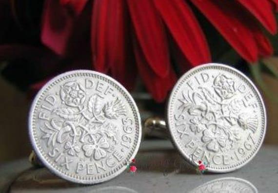Shiney Silver Lucky British Six Pence Coin Cufflinks