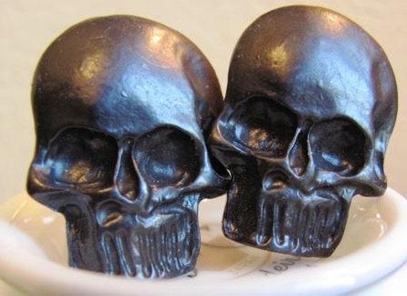 Large Gunmetal Skull Cufflinks - Very LAST Pair