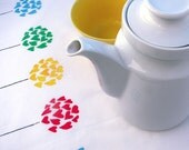 2 Tea Towels 'Rainbow Poppies' with hearts