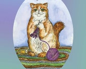 Knitting Cat Paper Ornament