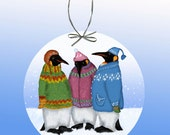 Penguins in Hand Knitted Sweaters Paper Ornament