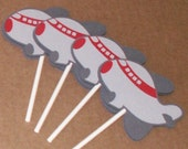 Airplane Cupcake Toppers - party decorations, cake decorations, party supplies