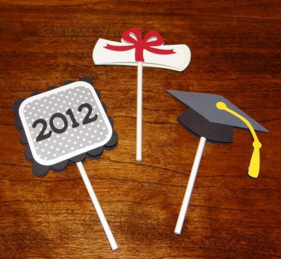 Graduation Cupcake Toppers - Graduation Supplies, Graduation Toppers, Graduation Decorations