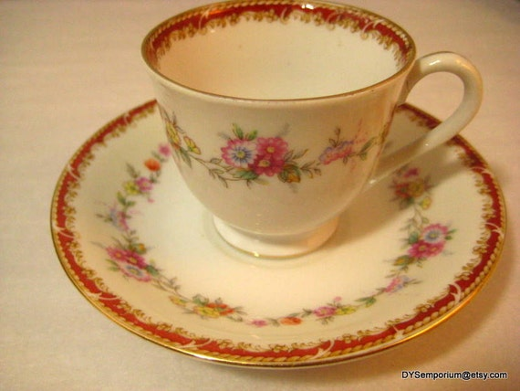 Cherry China Teacup And Saucer Occupied Japan 1940s Small