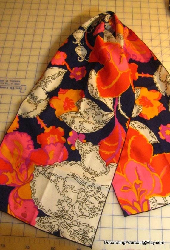 Vintage Rectangle Scarf 44 x 10 Women Pink Navy Orange