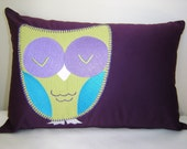 Owl Pillow Cover Purple and Green Cushion