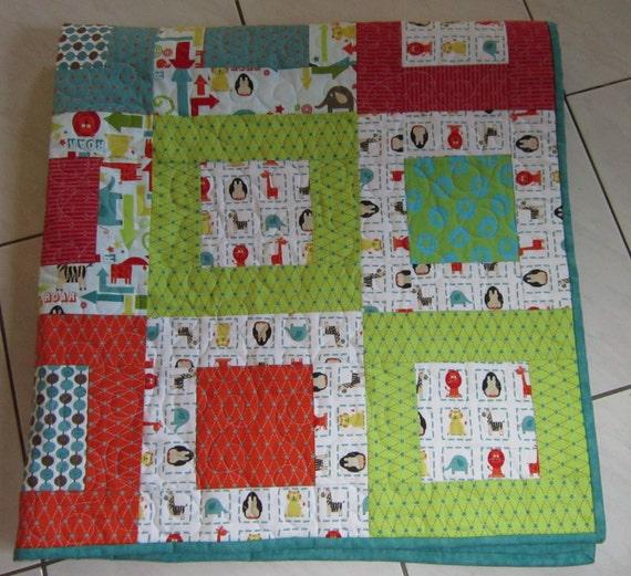 Baby Quilt Animal  Giraffe  Baby Nursery Children Decor Kids Furniture  Baby Blanket Baby Bedding Crib  Personalized Toddler Quilt Modern