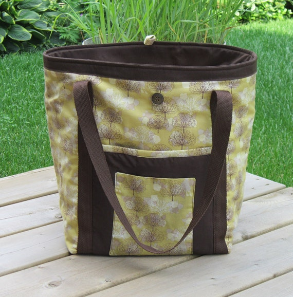 knitting Bag Large Tote Sack Trees Bag Quilted  Travel Bag Grocery Tote  Carry On Bag  Beach Tote Gym Bag Quilted Children Decor