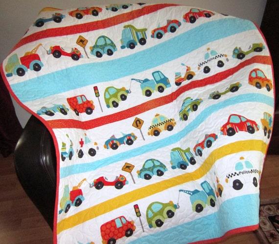 Modern Baby Quilt Boy Children Decor Crib bedding Baby Bedding Baby Nursery Trucks Patchwork Quilt Baby Furniture