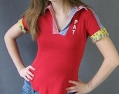 Red 70sTee Shirt / Boho / Nothing Matches / Vintage Extra Small to Small / Pat Personalized