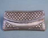Vintage 50s Pink Satin Clutch Evening Hand Bag Purse Beaded Pearls
