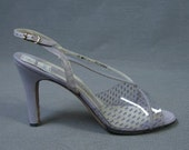 70s High Heeled Sandals Vintage Disco Clear Vinyl Strappy Purple Heels Shoes 10