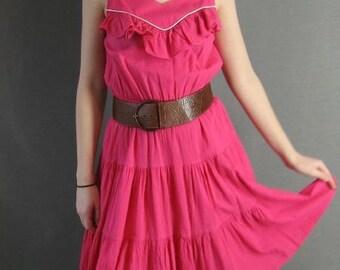 80s Vintage PINK Ruffle Sundress Dress Medium Tiered Skirt