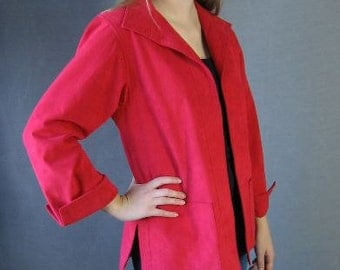 70s Ultrasuede Swing Jacket Vintage 1970s Samuel Robert Red Classic Medium