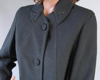 40s Coat Vintage 1940s Lightweight Black Topper Slim Fit Jacket Medium