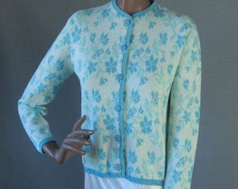 60s Sweater Vintage 1960s Cardigan Feminine Intarsia Floral Blue Small to Medium