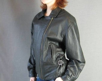 80s Leather Biker Style Jacket Vintage Motorcycle Black Large