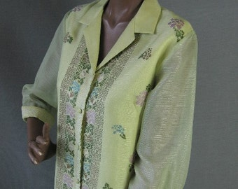 60s Shaheen Mini Dress Vintage Screen Printed Metallic Medium