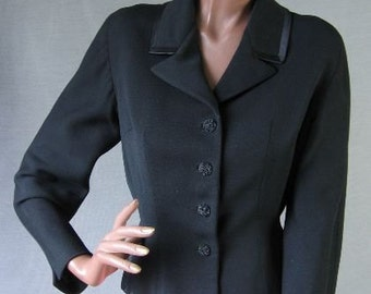 50s Vintage Suit Jacket Fit and Flare Satin Trim Gab Medium to Large