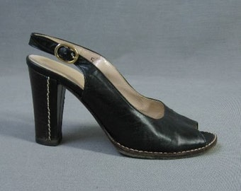 70s Slingback High Heel Shoes Vintage Black Open Toe 5