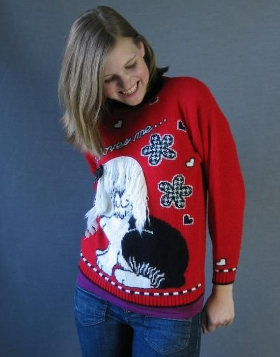 80s Vintage Sweater Shaggy Dog RED Hearts Flowers Extra Small to Small