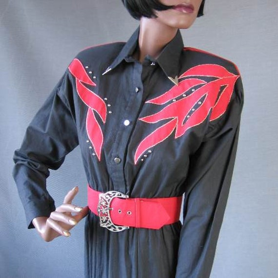 80s Day Dress Vintage Western Style 1980s Embellished Red Cowgirl Medium